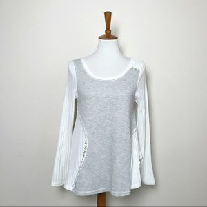 MYSTREE White & Gray Patchwork Top! M/L